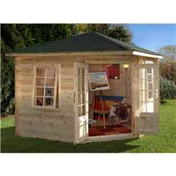 3.0m x 3.0m Corner Log Cabin With Double Doors - 28mm Wall Thickness