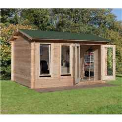 4.0m x 3.0m Log Cabin With Double Doors - 34mm Wall Thickness - INSTALLED