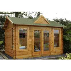 4.0m x 3.0m Log Cabin With Double Doors + 3 Large Windows - 34mm Wall Thickness