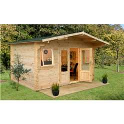 4.0m x 4.0m Log Cabin With 2 Windows + Glazed Double Doors - 34mm Wall Thickness - INSTALLED **Includes Free Shingles**