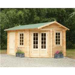 4.0m x 2.8m Unique Log Cabin With Glazed Double Doors - 34mm Wall Thickness