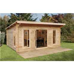 5m x 4m Large Contemporary Log Cabin - 44mm Wall Thickness