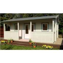 5m x 4m Log Cabin + Integral Veranda - 44mm Wall Thickness **Includes Free Shingles**