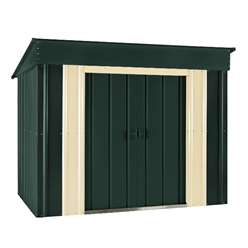 6 x 4 Low Pent Heritage Green Metal Shed