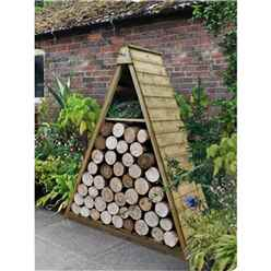 4.8ft x 2.1ft Pressure Treated Triangular Log Store (149cm x 65cm)