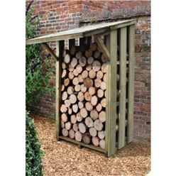 3.7ft x 3.8ft Small Pressure Treated Log Store - With Folding Roof (115cm x 117cm)