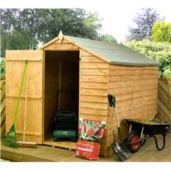 INSTALLED 8 x 6 Value Wooden Overlap Apex Garden Shed Windowless with Single Door (Solid 10mm OSB Floor) - INCLUDES INSTALLATION