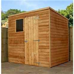 INSTALLED - 7 x 5 Value Wooden Overlap Pent Garden Shed With 1 Window And Single Door (10mm Solid OSB Floor) - INCLUDES INSTALLATION