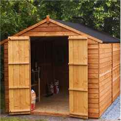 INSTALLED 10 x 8 Windowless Value Overlap Apex Wooden Shed With Double Doors (10mm Solid OSB Floor) - INCLUDES INSTALLATION
