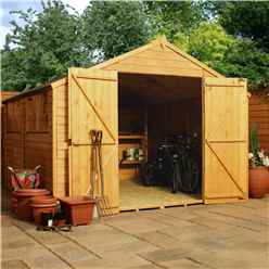 INSTALLED 10 x 10 Value Overlap Apex Wooden Workshop With 4 Windows And Double Doors (10mm Solid OSB Floor) - INCLUDES INSTALLATION