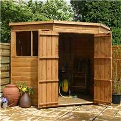 INSTALLED 7 x 7  Wooden Tongue And Groove Corner Wooden Shed With 2 Windows And Double Doors (10mm Solid OSB Floor) - INCLUDES INSTALLATION