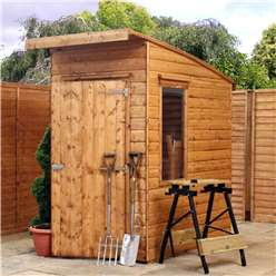 INSTALLED 6 x 4 Tongue and Groove Curved Roof Wooden Garden Shed With 2 Windows And Single Door - INCLUDES INSTALLATION