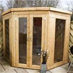 INSTALLED 7 x 7 Premier Wooden Corner Garden Summerhouse (10mm Solid OSB Floor and Roof) - INCLUDES INSTALLATION