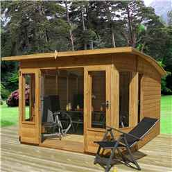 INSTALLED 10 x 10 Premier Curved Pent Wooden Garden Summerhouse (12mm Tongue and Groove Floor and Roof) - INCLUDES INSTALLATION