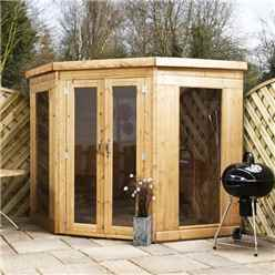 INSTALLED 7 x 7 Premier Wooden Corner Garden Summerhouse (12mm Tongue and Groove Floor and Roof) - INCLUDES INSTALLATION