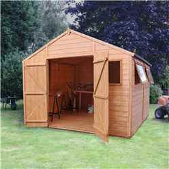 INSTALLED 10 x 10 Deluxe Tongue and Groove Wooden Garden Workshop With 4 Windows And Double Doors (12mm Tongue and Groove Floor and Roof) - INCLUDES INSTALLATION