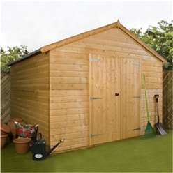 INSTALLED 12 x 10 Deluxe Tongue and Groove Windowless Double Door Wooden Workshop (12mm Tongue and Groove Floor and Roof)  - INCLUDES INSTALLATION