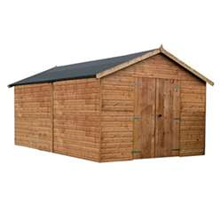 INSTALLED 16 x 10 Deluxe Tongue and Groove Windowless Double Door Wooden Garden Workshop (12mm Tongue and Groove Floor And Roof) - INCLUDES INSTALLATION