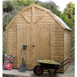INSTALLED 8 x 8 Windowless Deluxe Tongue and Groove Wooden Garden Dutch Barn (12mm Tongue and Groove Floor and Roof)  - INCLUDES INSTALLATION