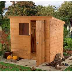 INSTALLED 6ft x 4ft Tongue and Groove Garden Pent Shed With 1 Window And Single Door (10mm Solid OSB Floor) - INCLUDES INSTALLATION