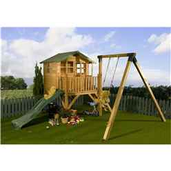 INSTALLED Tower Playhouse, Slide and Swing 5ft x 7ft - INCLUDES INSTALLATION