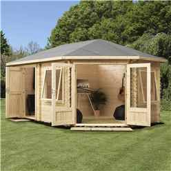 INSTALLED 5m x 3m Premier PLUS Corner Log Cabin (Single Glazing) + Free Floor & Felt & Safety Glass (28mm) - INCLUDES INSTALLATION