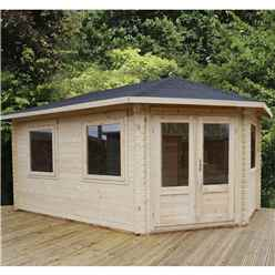 INSTALLED 5m x 3m Premier Apex GRANDE Corner Log Cabin (Single Glazing) + Free Floor & Felt & Safety Glass (28mm) - Right Door - INCLUDES INSTALLATION