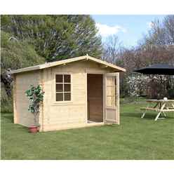 INSTALLED 3m x 2.4m Premier Apex Log Cabin (Double Glazing) + Free Floor & Felt & Safety Glass (34mm) - INCLUDES INSTALLATION