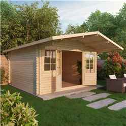 INSTALLED 4m x 4m Premier Apex + Overhang Log Cabin (Single Glazing) + Free Floor & Felt & Safety Glass (44mm) - INCLUDES INSTALLATION