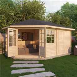 INSTALLED 5m x 3m Premier PLUS Corner Log Cabin (Double Glazing) + Free Floor & Felt & Safety Glass (28mm) **LEFT - INCLUDES INSTALLATION