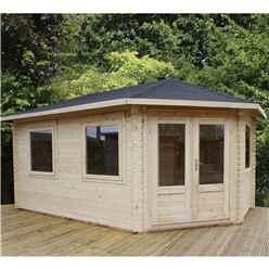 INSTALLED 5m x 3m Premier Apex GRANDE Corner Log Cabin (Double Glazing) + Free Floor & Felt & Safety Glass (28mm) - Right Door - INCLUDES INSTALLATION