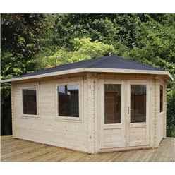 INSTALLED 5m x 3m Premier Apex GRANDE Corner Log Cabin (Single Glazing) + Free Floor & Felt & Safety Glass (34mm) - Right Door - INCLUDES INSTALLATION