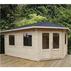 INSTALLED 5m x 3m Premier Apex GRANDE Corner Log Cabin (Double Glazing) + Free Floor & Felt & Safety Glass (44mm) - Right Door - INCLUDES INSTALLATION