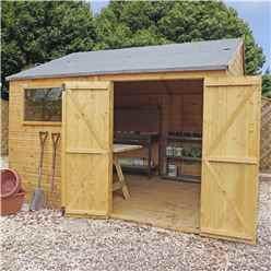 INSTALLED 10 x 12 Premium Reverse Apex Workshop With Double Doors and 1 Opening Window (12mm Tongue and Groove Floor and Roof) INCLUDES INSTALLATION