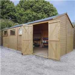 10 x 20 Premium Reverse Apex Workshop With Double Doors and 3 Opening Windows (12mm Tongue and Groove Floor and Roof)