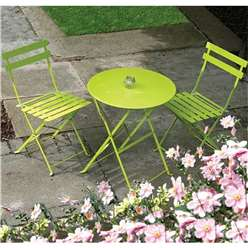 2 Seater - 3 Piece APPLE GREEN FOLDING PADSTOW BISTRO SET - Free Next Working Day Delivery (Mon-Fri)