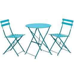 2 Seater - 3 Piece - SKY BLUE FOLDING PADSTOW BISTRO SET - Free Next Working Day Delivery (Mon-Fri)