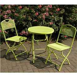 2 Seater - 3 Piece -APPLE GREEN FOLDING CAFE ESPRESSO BISTRO SET - Free Next Working Day Delivery (Mon-Fri)