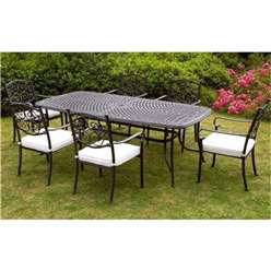 6 Seater - 7 Piece - Versailles Rectangular Set - 214 x 108cm Rectangular Table with 6 Stacking Chairs incl. cushions - Free Next Working Day Delivery (Mon-Fri)