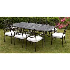 8 Seater - 9 Piece -Versailles Rectangular Set - 214 x 108cm Rectangular Table with 8 Stacking Chairs incl. cushion - Free Next Working Day Delivery (Mon-Fri)