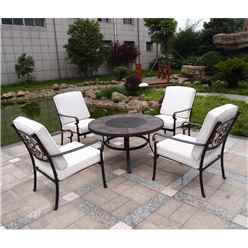 4 Seater - 5 Piece -Versailles Firepit Set - 106cm Firepit Table with 4 Lowback Stacking Chairs incl. cushions - Free Next Working Day Delivery (Mon-Fri)