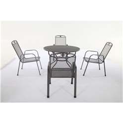 4 Seater - 5 Piece -Savoy Dining Set - 105cm Round Table with 4 Stacking Savoy Chairs - Free Next Working Day Delivery (Mon-Fri)