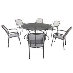 6 Seater - 7 Piece -RG Carlo Round Dining Set - 150cm Round Table with 6 Stacking Carlo Chairs