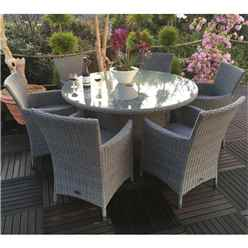 6 Seater - 7 Piece - MADISON Round Dining Set - 140cm Round Table with 6 Carver Chairs incl. cushions