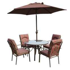 4 Seater - 6 Piece - Amalfi STRIPE Round Set with Parasol - 105cm Table with 4 Chairs - Brown-Burgundy Stripe cushions and 2.4m Parasol