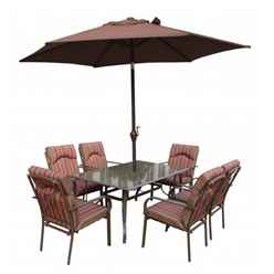 6 Seater - 8 Piece - Amalfi STRIPE Rectangular Set with Parasol - 152 x 96cm Table with 6 Chairs - Burgundy Stripe cushions and 2.7m Paraso