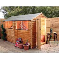 10ft x 6ft Value Overlap Apex Wooden Shed With 4 Windows And Double Doors (10mm Solid OSB Floor) - 48HR + SAT Delivery*