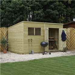 12 x 8 Pressure Treated Tongue and Groove Pent Shed (10mm solid OSB Floor)