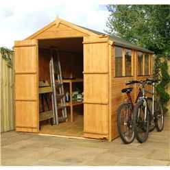 10ft x 6ft Tongue and Groove Apex Wooden Garden Shed With 4 Windows And Double Doors (10mm Solid OSB Floor) - 48HR + SAT Delivery*