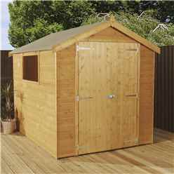 8ft x 6ft Premier Tongue and Groove Apex Wooden Garden Shed With 1 Window And Double Doors (12mm Tongue and Groove Floor + Roof) - 48HR + SAT Delivery*